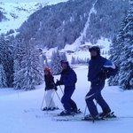 Llegando esquiando al Hotel