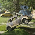 volkswagon art sculptures at the hilltop site