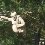 sculptures hanging from trees at the hilltop site