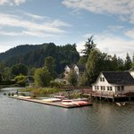 View of Skamokawa Resort from the water.