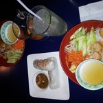 medium vermicelli bowls salad rolls and drinks...beautiful and delicious!