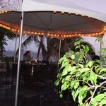 Outdoor seating for happy hour