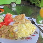 Coconut Bake, salt fish, scrambled eggs, juice