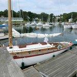 silver sailing boat