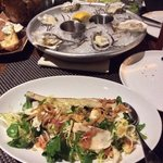 Oysters and Bone Marrow salad for appetizers in BLT. Excellent!