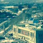View up Ben Franklin Parkway from my 25th floor room.