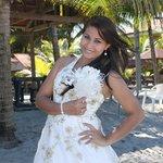 mi esposa con su vestido de novia