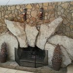 1 of 2 cool fireplaces in the lobby area.