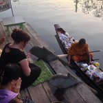 Early morning offering to Monks on the river from the deck of the hotel where we had breakfast.