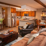 Living and kitchen of recently upgraded 2-bedroom condominium