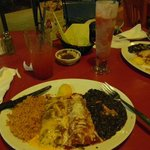 Combo meal of chicken and beef enchiladas