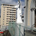 Larger than life Jesus Statue outside Church at the top of the 80 stairs