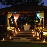 The gazebo decorated for a romantic dinner for two