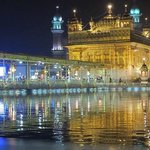 Golden Temple by night using hotel shuttle.