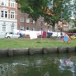 famous clothesline in Lübeck from the boat