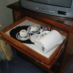 Tea/coffee tray on shelf in cupboard under tv - took us a while to find it
