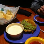 The guacamole and queso are the BEST! These are half orders of each:-)