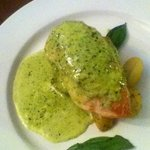 Young chicken breast with cream cheese, spinach sun dried tomato and pesto
