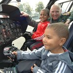 Would be pilots in the RAF Helicopter at an event