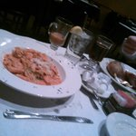 Shrimp in Vodka Sauce Pasta and Salmon Entree