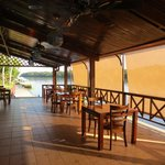 Dining area along the river.