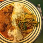 Beef Penang (more fragrant than hot) and chicken jungle curry (very hot!) with boiled rice