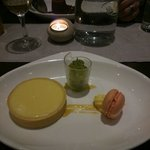 Delicious lemon pie with lime and basil sorbet. And a little pink macaroon,  so cute!