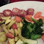 Scallops wrapped in prosciutto w steamed and roasted veggies for sides