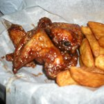 wings and fried potatoes