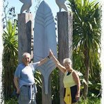 Couple from the USA in front a sculpture by Waiheke artists