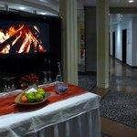 Hotel Lobby - virtual fireplace