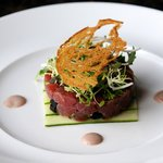 Ahi Tartare, with balsamic gelee, violet mustard, and shallot confit