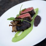 Duo of Brandt Beef, with scallion potato puree, red wine shallot confit, and sauce Bordelaise