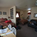 Double queen room with sofa sleeper and dinette.