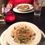 Beef stroganoff with rice and salmon with rice are delicious!