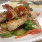 Maple mahi and shrimp over grilled vegetable