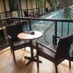 Standard motel room's outdoor seating