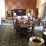 Lobby area where complimentary breakfast is served