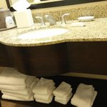 Bathroom vanity -lots of towels!