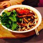 Hot chilli tofu noodle soup dish