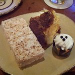 Rice krispies, bread pudding, and chocolate mousse at buffet