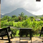 Patio and view of volcano from bungalow