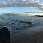 Panoramic of the beach just after sunrise