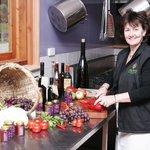 Debra cooking up her condiments