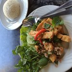 Tofu laap salad, steamed rice