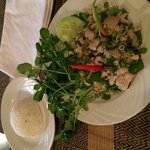 Fish laap salad, steamed rice