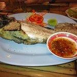 Grilled whitefish with Thai-spicy sauce