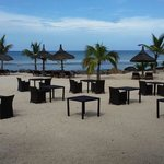 Tables setup going for romantic dinner at beach