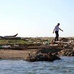Rubbish along the shore