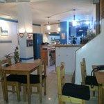 Ist floor of restaurant with open kitchen